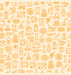 honey beekeeping and apiculture seamless pattern vector image
