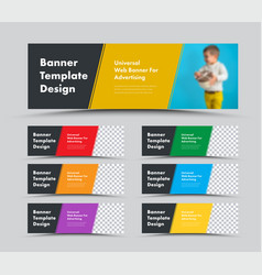 horizontal web banner templates with diagonal vector image