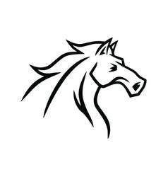 horse logo mascot line stylized drawing vector image