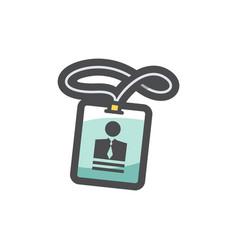 id holder card name icon cartoon vector image