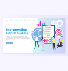implementing business solutions teamwork and plan vector image