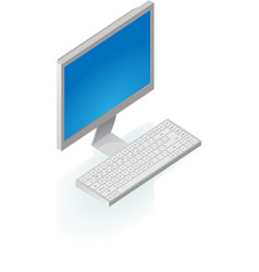 Isometric icon of desktop computer vector image