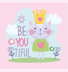 Little cat with crown flower cartoon cute text vector