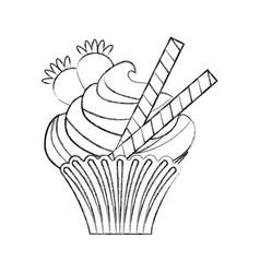 little delicious creamy cupcake vector image