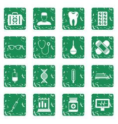 Medicine icons set grunge vector
