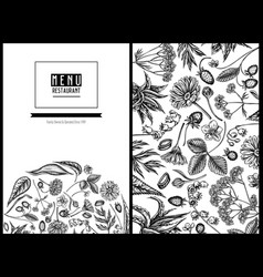 Menu cover floral design with black and white aloe vector
