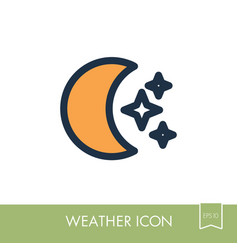 moon and stars icon meteorology weather vector image