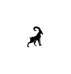 mountain goat symbol stand on rocks logo vector image