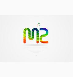 Mz m z rainbow colored alphabet letter logo vector