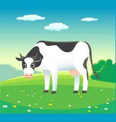 nature summer landscape with cow in meadow vector image