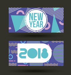 New year 2018 card invitation geometric banner vector