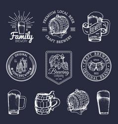 Old brewery logos set kraft beer retro signs vector