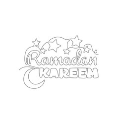 One single line drawing happy eid al fitr vector