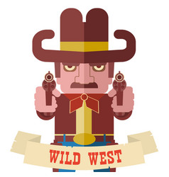 Owboy aiming the guns american western symbol vector