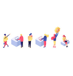People interact with data isometric set vector
