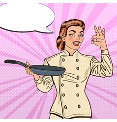 Pop Art Chef Woman in Uniform with Pan vector image