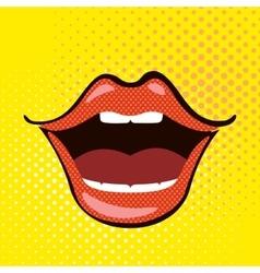 Pop art open mouth vector image