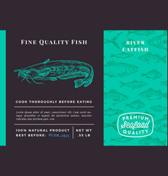Premium quality catfish abstract packaging vector