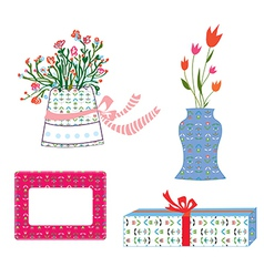 Presents boxes and flowers holidays vector