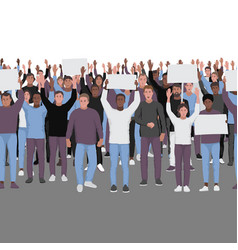 protesting people with hands up seamless border vector image