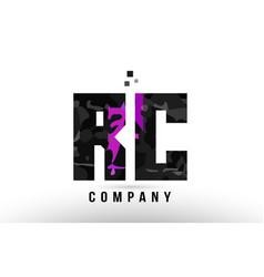 Purple black alphabet letter rc r c logo vector
