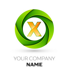 Realistic letter x logo in the colorful circle vector