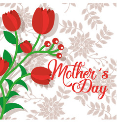 red flowers romantic delicate mothers day floral vector image