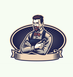 Retro design of barberman holding the clippers vector