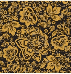 Seamless floral pattern Beige flowers on a gold vector
