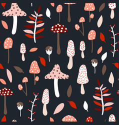 Seamless jungle pattern with mushrooms and floral vector