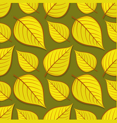 Seamless pattern with linden autumn leaves vector