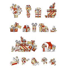 set of cartoon festive gifts vector image
