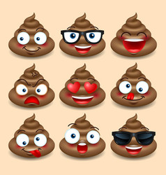 set of cute poop happy poop emoji emotional vector image