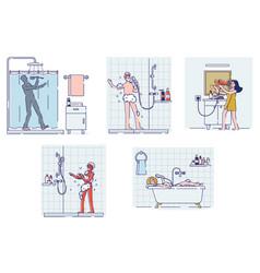 Set people singing in bathroom happy cartoon vector