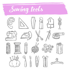 Sewing and knitting tools doodle icon set vector