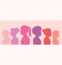 silhouette profile group women side view vector image