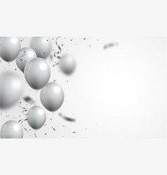silver balloons and confetti on white background vector image