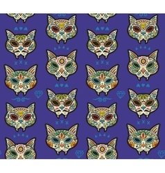 Sugar skull cats pattern Mexican day of the dead vector