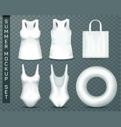 Templates of beach woman clothing and accessories vector