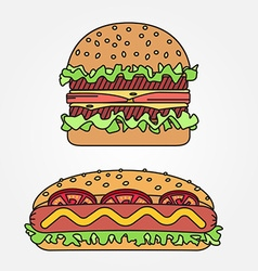 thin line icon hot dog and burger For web design vector image