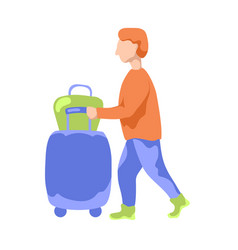 tourist man with suitcase and bag flat vector image