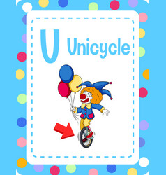 Valphabet flashcard with letter u for unicycle vector