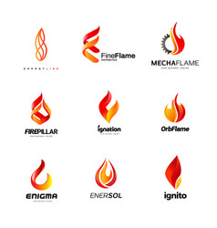various fire flame logo collection vector image