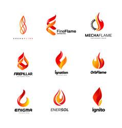 Various fire flame logo collection vector