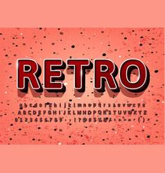 vintage alphabet 3d retro title text effect vector image
