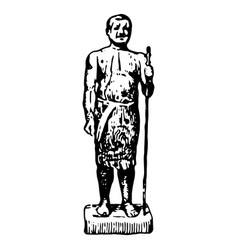 vintage engraving an ancient egyptian man vector image
