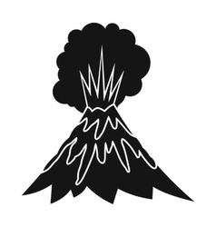 Volcano erupting icon simple style vector image