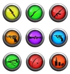 Weapon icon set vector