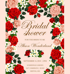 Wedding flower banner for bridal shower invitation vector