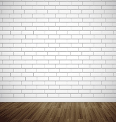 White brick room with wooden floor vector